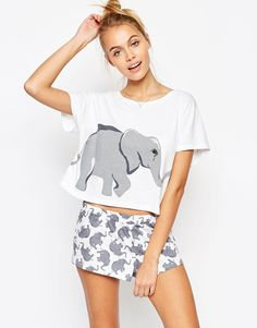 Image 1 of ASOS Elephant Print Tee & Short Pyjama Set