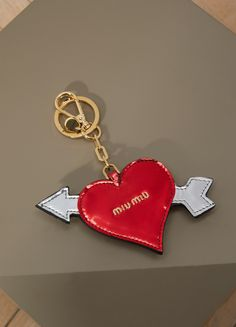 MIU MIUCharm Heart Miu Miu, Key Rings, Dog Tags, Dog Tag Necklace, Charmed, Personalized Items, Heart, Jewelry, Key Fobs