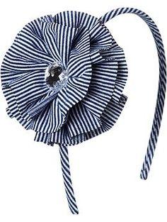 Girls Striped Rosette Headbands | Old Navy