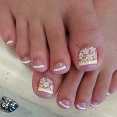 White tip Pedicure Nail Art, Toe Nail Art, Toe Nails, Colorful Nail Designs, Toe Nail Designs, Pretty Toes, Pretty Nails, White Toes, Nail Stuff