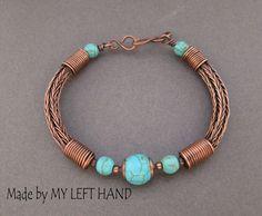 Turquoise Copper bangle Bracelet Viking knit by MadeByMyLeftHand