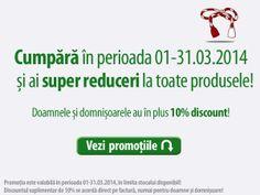 Super reduceri de Martisor la toate produsele si 10% discount in plus pentru doamne si domnisoare, toata luna Martie!