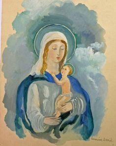 Blue Madonna by French artist Hermine David (1886-1970)