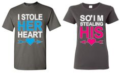 I Stole HER Heart & So I'm Stealing HIS - COUPLE T-SHIRT cute matching LOVE tee #Gildan #GraphicTee