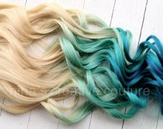Blonde Dip Dye, Ombre Blond, Blue Ombre Hair, Dip Dye Hair, Teal Ombre, Dip Dyed, Purple, Blonde Hair Extensions, Dying My Hair