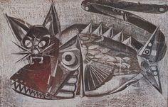 Gato e Peixe - artista Silvio Pléticos