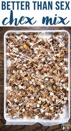 Better than Sex Chex mix is an amazing sweet chex mix with chocolate chex melted caramel peanut butter cups marshmallows and lots of chocolate! Its irresistible! Trail Mix Recipes, Puppy Chow Recipes, Snack Mix Recipes, Yummy Snacks, Snack Mixes, Chex Party Mix Recipe, Salty Snacks, Candy Recipes, Delicious Desserts