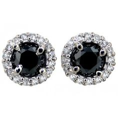 14k White Gold 1.45ctw Black and White Diamond Halo Stud Earrings ❤ liked on Polyvore featuring jewelry, earrings, accessories, brincos, joias, 14 karat gold earrings, 14k stud earrings, white gold jewellery, 14 karat gold jewelry and stud earrings