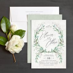 Natural Laurel Wedding Invitations by Jennie Hake | Elli