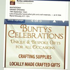 New shop opening in Kirkcaldy fife,Scotland . Stitching will be selling products there. Please support local crafters :)