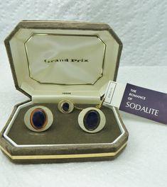 Swank Grand Prix Sodalite Cufflinks Tie Tack by LadyandLibrarian, $85.00