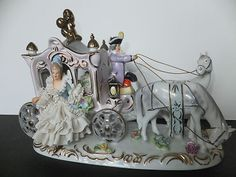 Antique Vtg Capodimonte Dresden Porcelain Figure Fairytale Cinderella Carriage | eBay