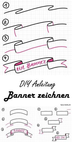 Letter Lovers: myfancyletters zu Gast im Lettering Interview Learn how to easily draw different banners with this guide. Enhance your hand lettering with a banner and highlight certain words or sentences. Banners always go. Bullet Journal Banner, Bullet Journal Notes, Bullet Journal Lettering Ideas, Bullet Journal Writing, Bullet Journal School, Bullet Journal Ideas Pages, Bullet Journal Inspiration, Hand Lettering Alphabet, Brush Lettering
