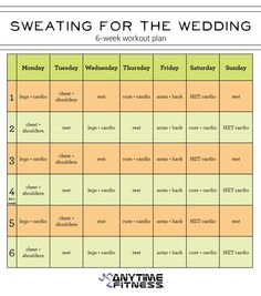 6-Week Pre-Wedding Workout Plan - Get in shape for your wedding day!