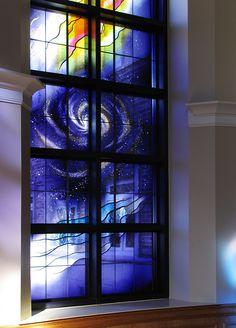 Chapel, Sisters of the Cenacle Retreat Center, Ronkonkoma, NY Artist: Claire M. Wing, Liturgical Glass +++ Arts Medium: Lamberts mouth-blown stained glass Dimensions: 6 ½ ft. x 20 ft. Photo Credit: Claire M. Wing