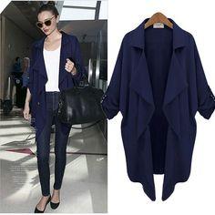 Plus Size Autumn Long Sleeves Chiffon Coat