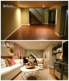 Before and After basement living room. Anyone can do this! #IncomeProperty