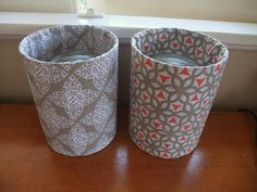 cans with decorative fabric good for decoration!