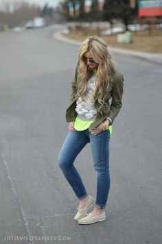 Little Miss Fearless  J.Crew Daisey Sweatshirt, Cargo/Army Jacket, Neon, and Distressed Jeans :)