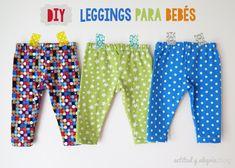 DIY: Cómo hacer leggings para bebés / Actitud y alegría. Baby Dress Patterns, Baby Clothes Patterns, Clothing Patterns, Boho Baby Clothes, Handmade Baby Clothes, Sewing For Kids, Baby Sewing, Baby Leggings, Baby Crafts