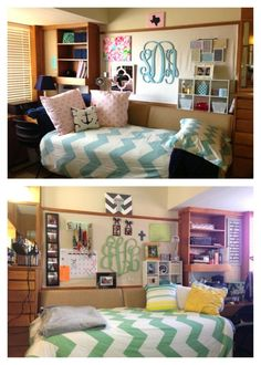 Texas Tech Dorm Room Chitwood (duvets from Urban Outfitters; mini cube shelf from Target; blankets and twin xl sheets from Target; monogram hanging, lilly pulitzer bulletin board, pillows all from etsy;  picture frame montage from Michaels)