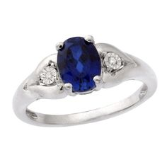 Oval Lab-Created Blue Sapphire and Diamond Accent Flower Ring in Sterling Silver - Size 7 - Zales