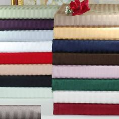 Superior 300 Thread Count Long-Staple Combed Cotton Stripe Sheet Set, Brown