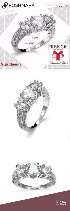 Silver wedding ring zircon women size 6,7,8,9,10 Brand New! Size: US 6,7,8,9,10 Style: High Quality Fashion Jewelry Ring Material: 925 Sterling Silver Filled  + AAA Cubic Zirconia Diamond Wearing Occasion: Daliy Wear / Party / Anniversary / Wedding Gift for: Girl friend / Wife / Mom / Yourself This jewelry accord with the eu environmental requirements  18k Gold Plated Filled Wedding Rings For Women Luxurious Style Round Shape AAA CZ Diamond Engagement  Item Type:Rings Rings Type:Wedding…