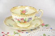 Crown Staffordshire fine bone china tea cup and by VieuxCharmes
