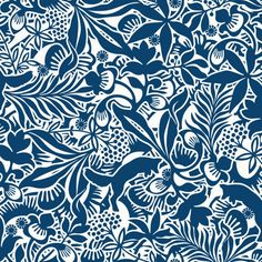 """Boråstapeter Fantasia Wallpaper by Hanna Werning """"Love the little foxes or wombats or whatever they are in the background"""" Tier Wallpaper, Wallpaper Samples, Home Wallpaper, Animal Wallpaper, Pattern Wallpaper, Leaves Wallpaper, Hallway Wallpaper, Textures Patterns, Print Patterns"""