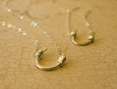 Best Friends Necklaces - Two Sterling Silver Horseshoe Necklaces - Handmade