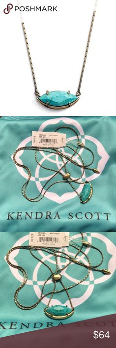 """Kendra Scott Meghan Necklace in Turquoise!! Love this Kendra necklace!! It's brand new with tags. Includes Kendra Slip bag & will be wrapped for fun. With dainty marquis stone of Variegated Turquoise and our signature sliding bead, this adjustable pendant is made to layer any way you choose.  • Antique Plated Brass • Size: .89""""L x .39""""W stationary pendant, 28""""L • Adjustable sliding bead closure • Material: variegated turquoise magnesite Kendra Scott Jewelry Necklaces"""