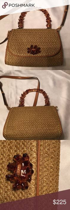 NEW Eric Javits Woven Purse Tan leather and straw like fiber woven handbag.  Unusual clear Amber colored handle.  Mirror.  New. Eric Javits Bags