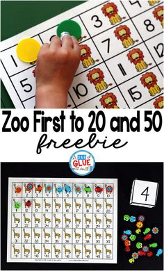 Zoo First to 20 and First to 50 Math Game is a great way for students to practice one to one correspondence, counting, and addition. This free printable is perfect for preschool, kindergarten, and first grade. Kindergarten Math Games, Kindergarten Freebies, Counting Activities, Teaching Math, Preschool Kindergarten, Maths, Teaching Ideas, Teaching Resources, Preschool Activities