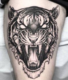 Tiger Head Tattoo, Head Tattoos, Life Tattoos, Body Art Tattoos, Tattoo Sketches, Tattoo Drawings, Lucky Cat Tattoo, Medusa Tattoo Design, Gorilla Tattoo