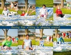 What a fun party idea - slip & slide with shaving cream @Melinda W  Kim