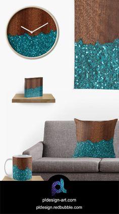Unique apparel Aqua blue sparkles broken rustic brown wood pillow, clock and more home decor by #PLdesign #sparkles #bluesparkles #style #redbubble