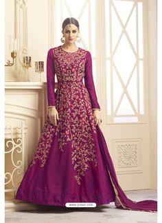 Designer Magenta Banarasi Silk Floor Length Suit