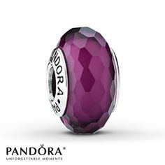 Pandora Glass Charm Purple Sterling Silver