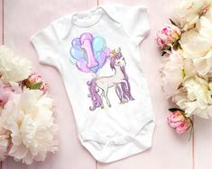 3ba64377d0 Unicorn First Birthday Outfit For Girls Purple Theme Party Shirt Bodysuit