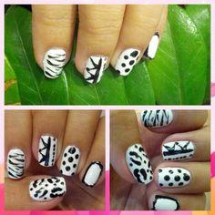 Black and white nail art Black And White Nail Art, White Nails, White Nail Beds, White Nail
