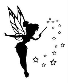 Clip art silhouette pictures of Tinkerbell to be used to create either stencils or decals Tattoo Tinkerbell, Tinkerbell Disney, Fairies Tattoo, Disney Fairies, Bild Tattoos, Body Art Tattoos, Tatoos, Foot Tattoos, Flower Tattoos