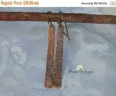 ON SALE Hammered Earrings Bar Earrings Metal by Unique2chicdesigns