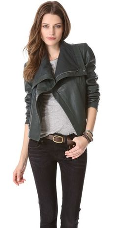 VEDA Max classic leather jacket with a cool funnel collar for added edge. #fashion #style