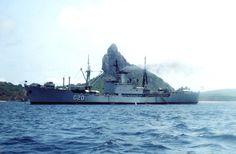 """Esse é o navio Custódio de Mello """"Rei dos Mares"""". Incorporado à Marinha do Brasil em 1º de dezembro de 1954. Transportava até 497 homens ou 1.972 por curtos períodos. Atingia a velocidade máxima de 17 nós aproximadamente 31 km/h. Possuía 4 canhões (76,2 mm/50); e 2 metralhadoras de 20 mm. Tinha capacidade para receber pequenos helicópteros ou carga helitransportada na popa. Sua baixa aconteceu em 27 de setembro de 2002, depois de 48 anos de serviço ativo."""