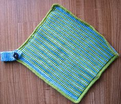 Tunisian Crochet Dishcloth with Tutorial   by Anne Adeline