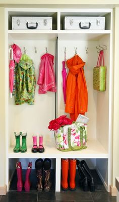 "Really like this idea ... possibly a his and hers side?  The possibility of removing a hall closet door, whether the closet is deep, shallow, wide, or narrow, you can make it into a ""locker style"" mud room downstairs -  and upstairs can be a perfect indentation for open shelving! Who needs doors anyway??"