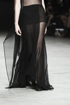 Transparency - long black dress with sheer layers; fashion details // Haider Ackermann Spring 2012