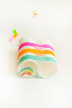 Make easy recycled Rainbow Binoculars you can actually see a rainbow through with just paper tubes!