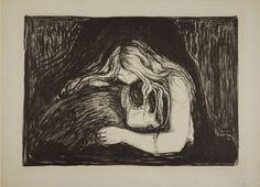 Edvard Munch (1863-1944), Vampyr II, 1895, Lithographie mit Kreide und Tusche, Schabeisen, auf grauem Karton, Städel Museum, Frankfurt am Main